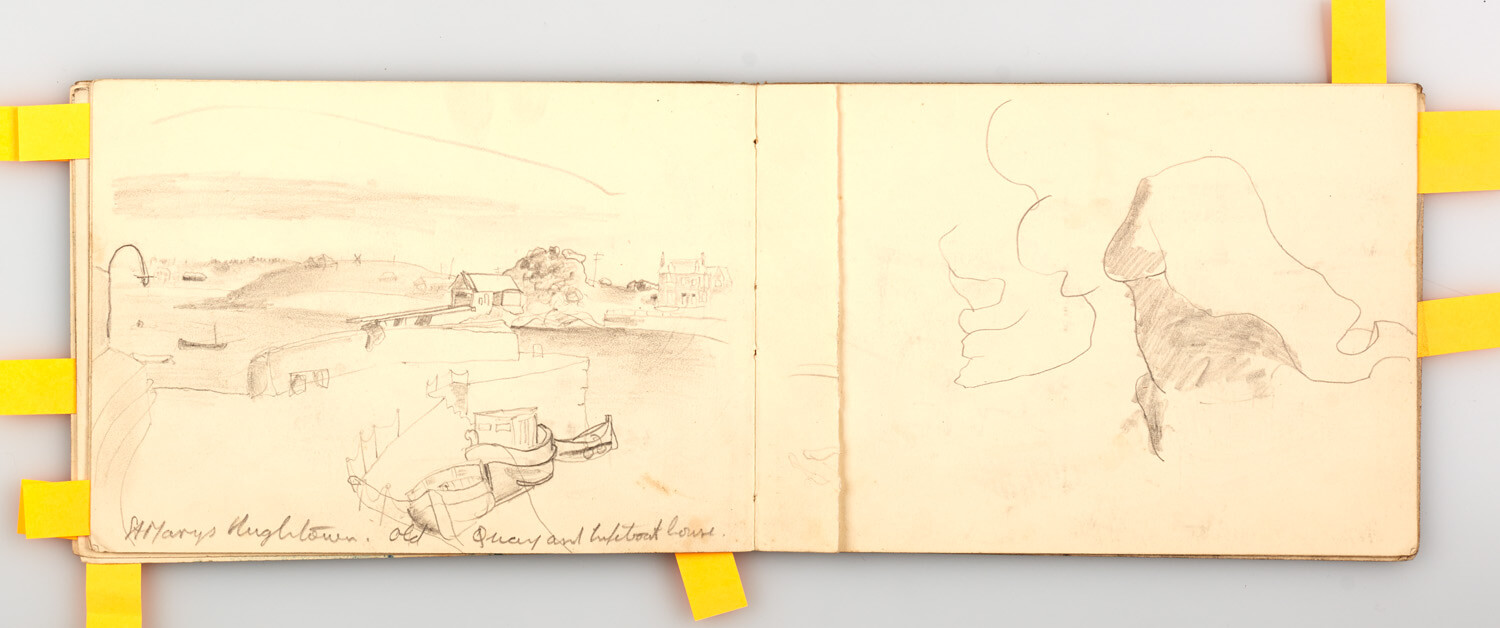 JB302 - Scilly Isles, St Mary's Old Quay and Lifeboat house - 1946 - 12.5 x 18 cm - Pencil