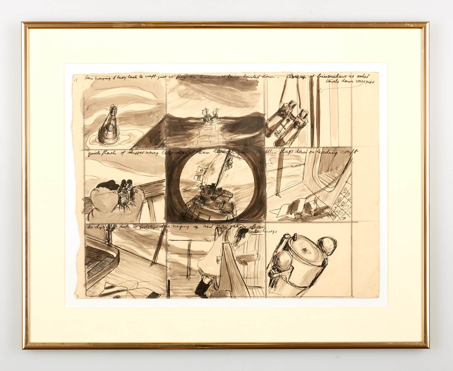 JB305 - Drawing World War 2 on boat - idea for a film - 1944 - 28 x 38 cm